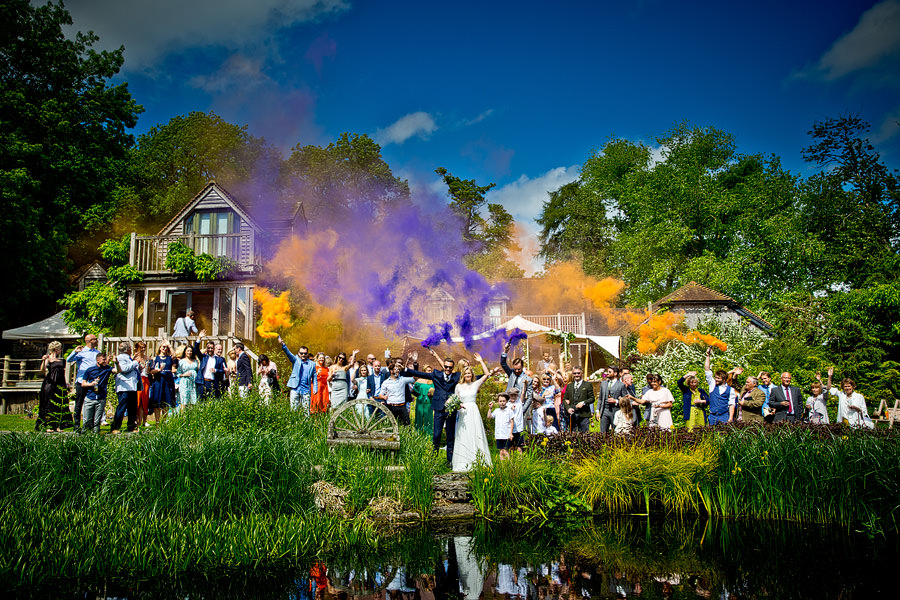 Wedding Group shot with coloured flares